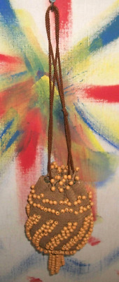 Antique Victorian Late 19th-C French Beaded Crocheted-Linen Reticule Purse