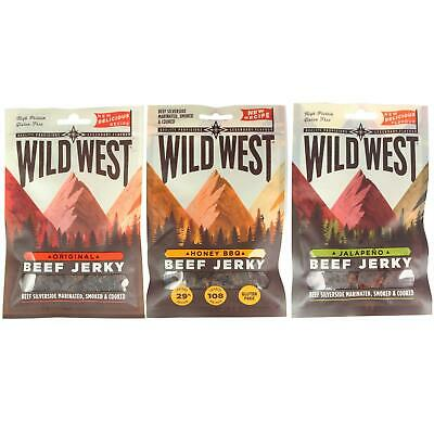 Wild West Beef Jerky All Flavours Mixed Packs Gluten Free High Protein Snack