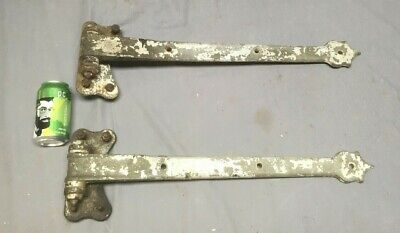 Pair Antique Cast Iron Large Door Decorative Hinges Strap Vtg Hardware 153-19LE