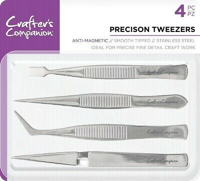 Crafters Companion - Precision Tweezers (4pc) - Anti-Magnetic, Smooth Tipped