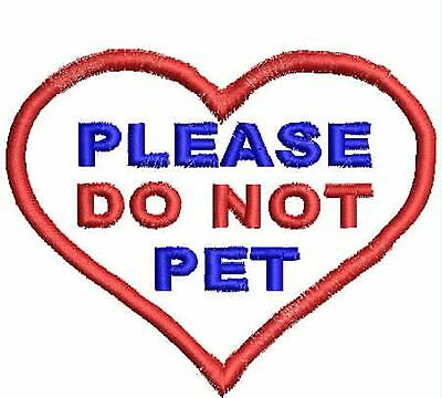 """Do Not Pet Patch, Service Dog Patch, Heart 3.5"""" x 3.8"""", ESA Patches Harness"""