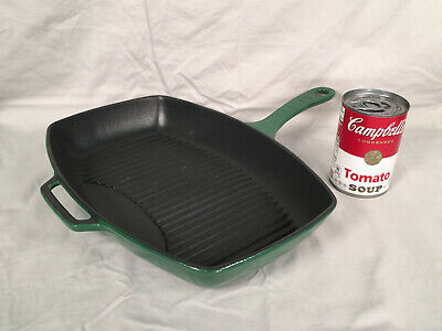 Chasseur 12 in. Green Rectangular French Enameled Cast Iron Grill Pan