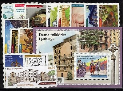 ANDORRE: ANNEE COMPLETE 2014 DE 15 TIMBRES NEUF** N°748/762 Cote: 50,00 €