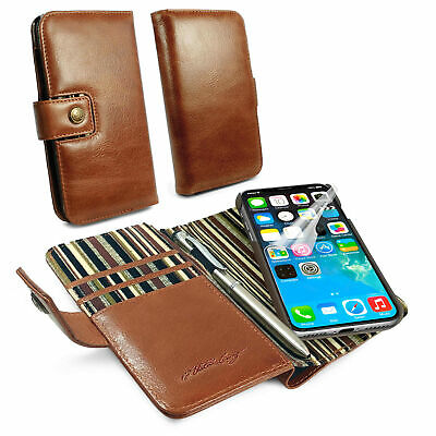 Alston Craig Genuine Leather Magnetic Shell Wallet Case for iPhone X / XS-Brown