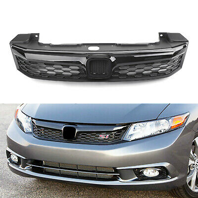 New Black SI Style Front Bumper Grille Replace For 2012 Honda Civic Sedan 4Doors