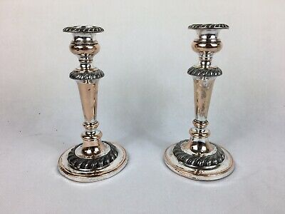 Antique - Pair Of Georgian Silver Plated Candlesticks
