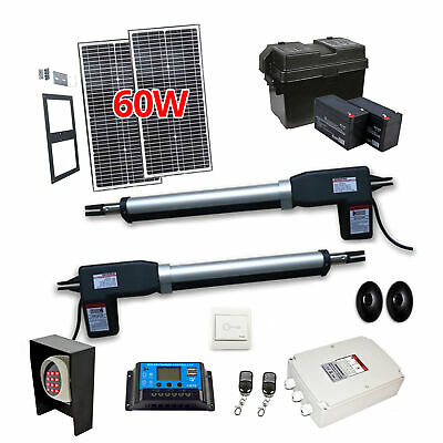 ALEKO Full Kit Swing Gate Opener Solar Powered For  Dual Gates Up To 20 feet