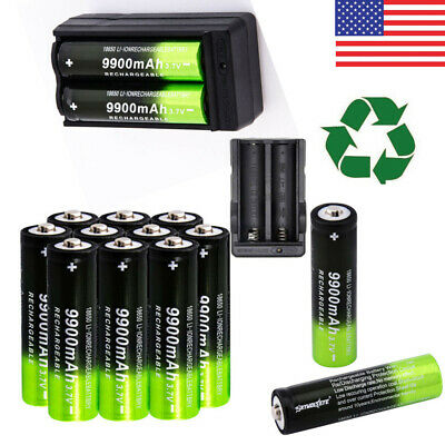 9900mAh 18650 Battery Powerful 3.7v Li-ion Rechargeable Batteries + Charger USA