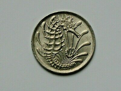 Singapore 1981 10 CENTS Coin AU+ with Toned-Lustre & Seahorse Ocean Animal