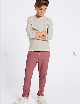 BNWT M&S Boys Berry Chino Trousers Age 6-7 Years Extra Long Leg