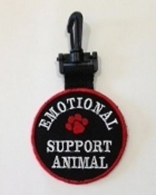 EMOTIONAL SUPPORT ANIMAL PATCH, DOUBLE SIDED CLIP ON ID TAG, Harness ID ESA TAG
