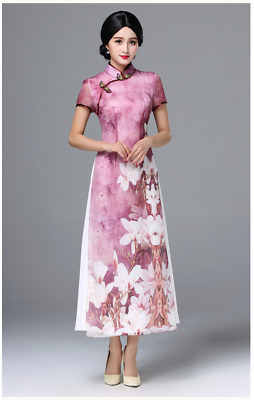 100% Silk Womens Traditional Chinese Style Elegant Floral Qipao Evening Dress ZG
