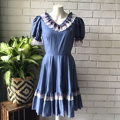 Partners Please Malco Modes Blue Square Dancing Dress Lace Size 8 Western