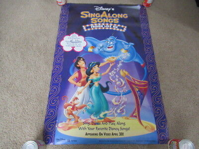 VINTAGE 90s Aladdin Sing Along Promo Video Movie Poster Walt Disney Double Sided