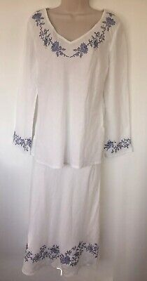 Vintage LAURA ASHLEY 100% Linen Embroidered Floral Maxi Skirt Tunic Top Suit 14