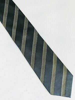 Men's designer grey & green Italian silk striped tie by Aquascutum longer length