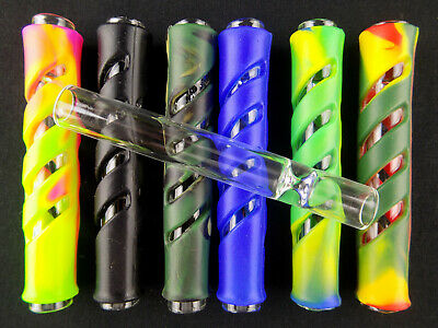 "1 Easy Grip Silicone Sleeve 3.5"" Glass One Hitter Tobacco Hand Pipe Chillum 8Mm"