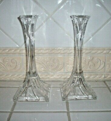 "Pair of Beautiful Vintage Solid 24% Lead Crystal Candlestick Holders 10"" Tall"