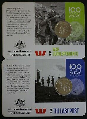 100 Years of ANZAC Card 20 Cent x 2