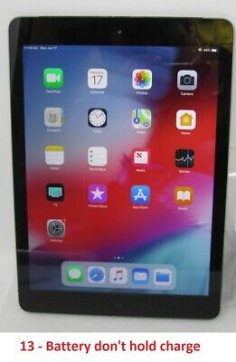 Apple iPad Air 1st Gen. - 16GB - Wi-Fi, 9.7 in - Space Gray - Battery Issue