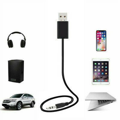 Wireless Bluetooth 3.5mm Stereo Audio Music Receiver Car AUX Black Adapter