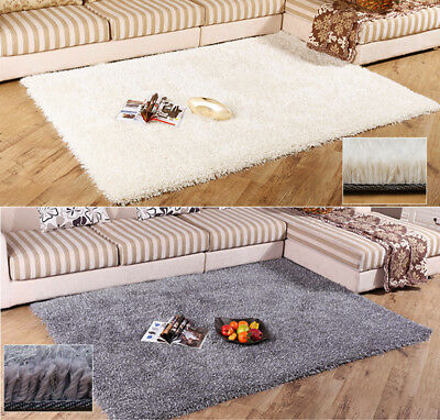 Large Shaggy Floor Rug Plain Soft Area Mat 5.5cm Thick Pile Furry Living Bedroom