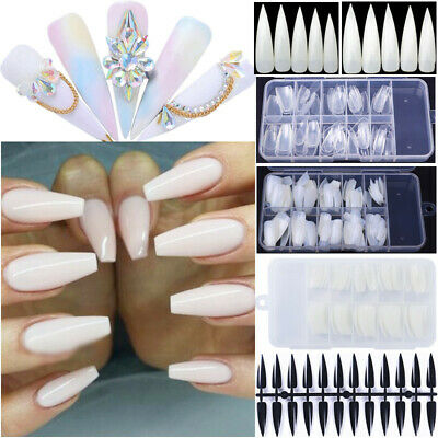 HOT 50/100/240Pcs Professional Fake Nail Tips Long French Acrylic Tips Tool