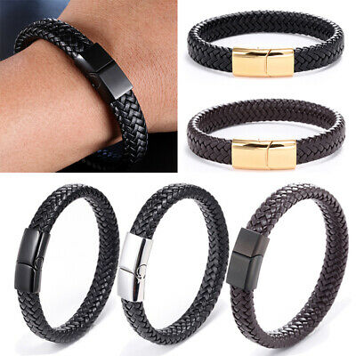 New Punk Men's Leather Band Bracelet Buckle Metal Magnetic Wristband Cuff Bangle