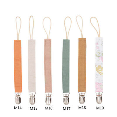 Baby Cotton Linen Nipple Soother Chain Pacifier Clips Chain Dummy Clip Holder