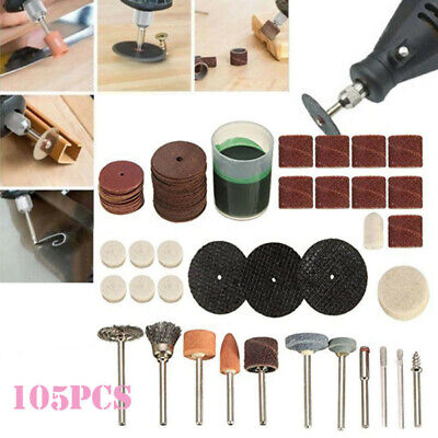 105Pcs Mini Electric Drill Grinder Rotary Tool Grinding Polishing-Kit New