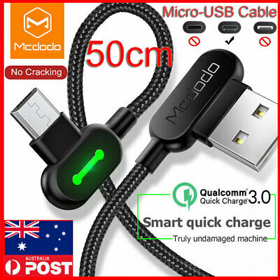 Micro USB Fast Charger Cable 50 cm Short F Samsung Galaxy S7 S6 S5 S4 Note 2 3 4