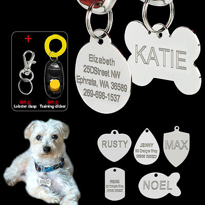 Personalised Dog Tags Disc Pet Cat Name ID Military/Heart/Fish/Bone/Round/Shield