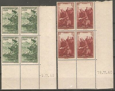 "France - 1941 Prisoners of War Fund Sg696-7 ( Blks of 4 ) "" Coin Date "" MNH"