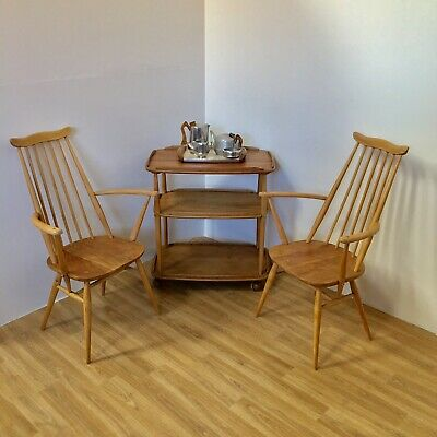 Pair of Blonde Ercol Vintage Retro Goldsmith Carver Chairs