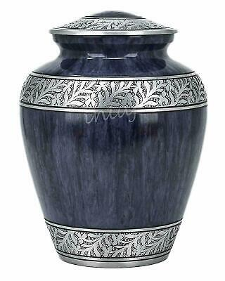 Adult Cremation Urn for Human Ashes Blue Funeral Urn for Ashes 200 Cu/in