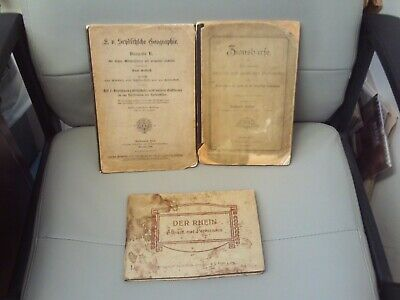 3 x Late Victorian German Language Books / Rhine Guide Map (19th Century)