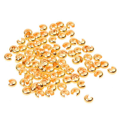 2X( 100Pcs Gold Tone Crimp Beads Covers Jewelry Findings A8B5)