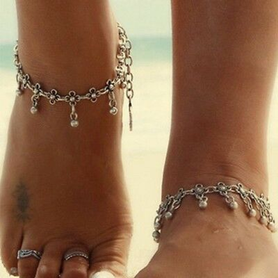 Tibetan Boho Silver Foot Chain Dangle Flower Ankle Bracelet Anklet Excellent