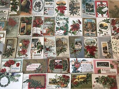 Huge Lot of 100 Vintage 1900 Christmas Holiday Postcards Antique-in Sleeves-c866