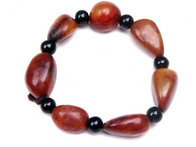 Vintage Nephrite Jade Beads Crafted Bangle Bracelet FITS ALL SIZES #03061908