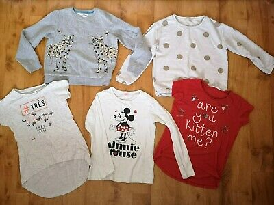 Girls bundle of Jumpers & Tshirts mickey mouse butterfly cat age 9-10 Zara M&S