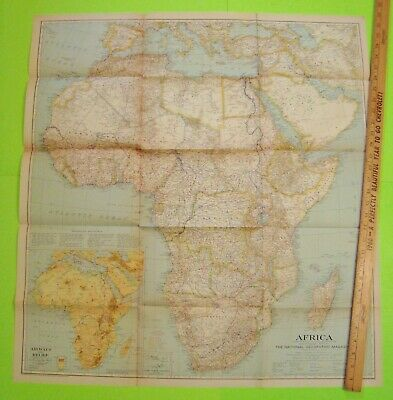 """1935 Original HUGE COLOR WALL MAP OF AFRICA 29"""" X 32"""" National Geographic XLNT"""