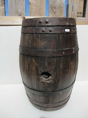 """Vintage French Beer Barrel Ale Wood With Iron Straps Antique Brass Old  20.5""""H"""