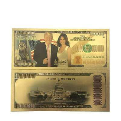 $1000000 Donald Trump And The First Lady Commemorative Coin Gold Foil Banknote