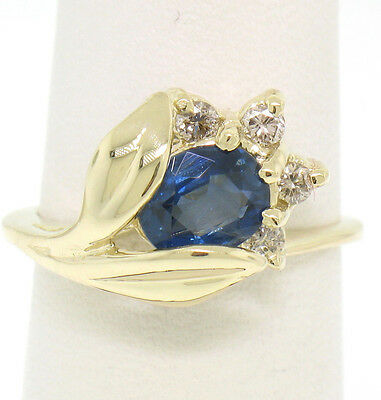 14K Solid Yellow Gold 1.14Ctw Oval Sapphire Blooming Flower Ring Diamond Accents