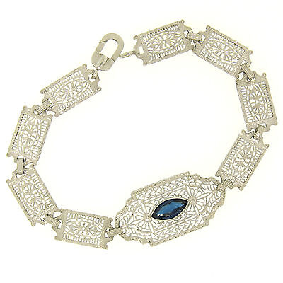 Antique Edwardian 10k White Gold Filigree Link Bracelet w/ Marquise Sim Sapphire