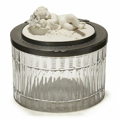 Antique Parian Mounted Cut Glass Biscuit Jar 19Th C.