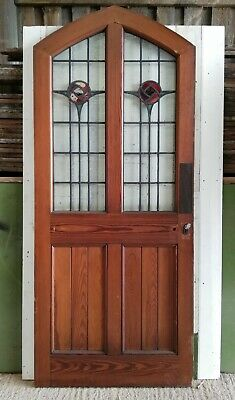 ATTRACTIVE PITCH PINE STAINED GLASS EXTERNAL / INTERNAL DOOR W960mm Ref DB0659