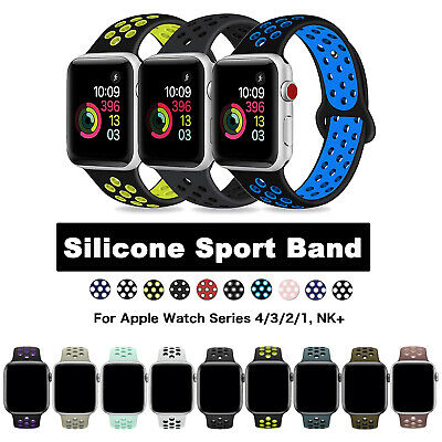 38/42/40/44mm Silicone Sport iWatch Band Strap for Apple Watch Series 4/3/2/1 NK