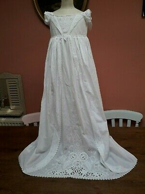 Antique Christening Gown Dress Ayrshire Hand Embroidery Stunning Baby Doll